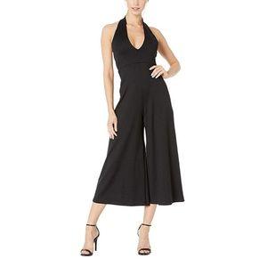 Susana Monaco deep V black halter jumpsuit NWOT